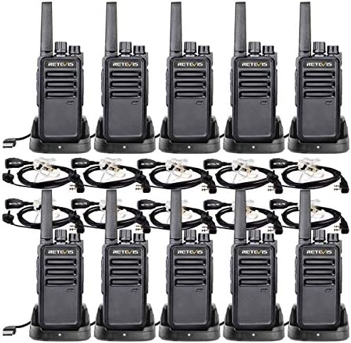 Retevis RT68 Two-Way Radios Long Range, Walkie Talkies Adults, with Earpiece,VOX Handfree Set, 2 Way Radio Rechargeable, Business Restaurant 10 Pack