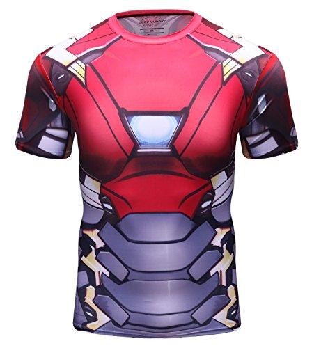 Red Plume Men's Film Super-Hero Series Compression Sports Shirt Running Short Sleeve Tee ()
