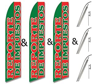 Three (3) Pack Swooper Flags & Pole Kits Red & Green REPORTE DE IMPUESTOS
