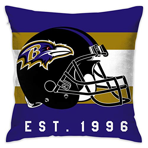 Gdcover Custom Stripe Baltimore Ravens Pillow Covers Standard Size Throw Pillow Cases Decorative Cotton Pillowcase Protecter with Zipper - 18x18 -