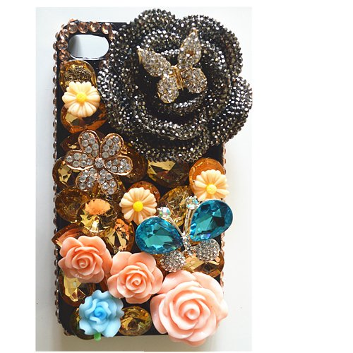EVTECH(TM) 3D Flowers Rhinestones Series Bling Handmade Crystal Rhinestone Heart Diamond Bling Cover Soft Faceplate Case for iPhone 5 / 5S T-Mobile Sprint AT&T Verizon(100% Handcrafted)