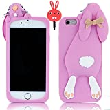 Apple iPhone 6 Plus / 6S Plus 5.5 inch Case,Vandot 3D Fashion Cute Funny Flower Bow Ears Cartoon Buck Teeth Bunny Protective Skin Shell Soft Rubber Silicone Back Cover Perfect Fit Anti-scratch Pattern+ Anti Dust Plug-Purple