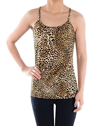 Anna - Kaci Womens Brown Leopard Print Casual Spaghetti Racerback Tank Top, Brown, Small