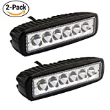 2PCS 6.3 Inch Led Fog Light Bar 18W Outdoor Led Light Bar 6500K 1350LM Night Driving Lights Off Road Lights Spot Light Bar for 4X4 Cabin Boat Ship SUV ATV Deck Mining(18monthes Warranty)