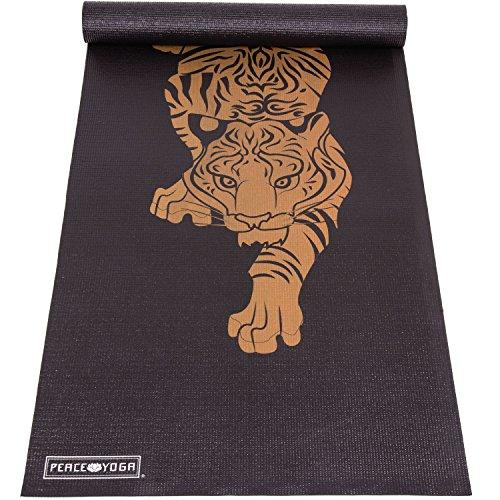 Peace Yoga Printed Design Yoga Mat, 6mm - Black ()