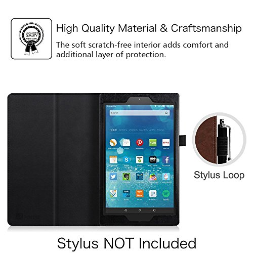 Fintie Folio Case for Amazon Fire HD 8 (Previous Generation - 6th) 2016 release - Slim Fit Premium Vegan Leather Standing Protective Cover With Auto Wake / Sleep, Dual Color