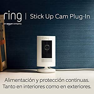Ring Stick Up Cam Plug-In, cámara de seguridad HD con comunicación bidireccional, compatible con Alexa | Incluye una prueba de 30 días gratis del plan Ring Protect | Color blanco