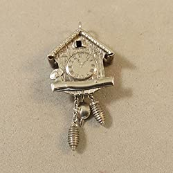VINTAGE 800 Silver 3-D CUCKOO CLOCK Bracelet CHARM Movable Pendulum VT64F Jewelry Making Supply Pendant Bracelet DIY Crafting by Wholesale Charms