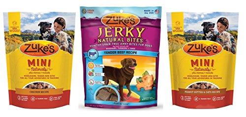 Zuke's Naturals Healthy Dog Treats 3 Flavor Variety Bundle: (1) Zuke's Mini Naturals Healthy Moist Roasted Chicken Recipe, (1) Zuke's Naturals Healthy Grain-Free Tender Beef Jerky Bites, and (1) Zuke's Mini Naturals Healthy Moist Peanut Butter Formula, 6