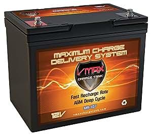 VMAXTANKS MR107-85 12V 85AH Marine AGM SLA Deep Cycle Battery ideal for boats and 30lb-55lb thrust Minn Kota, Newport Vessels, Cobra, Sevylor and other trolling motors. BCI Group 24