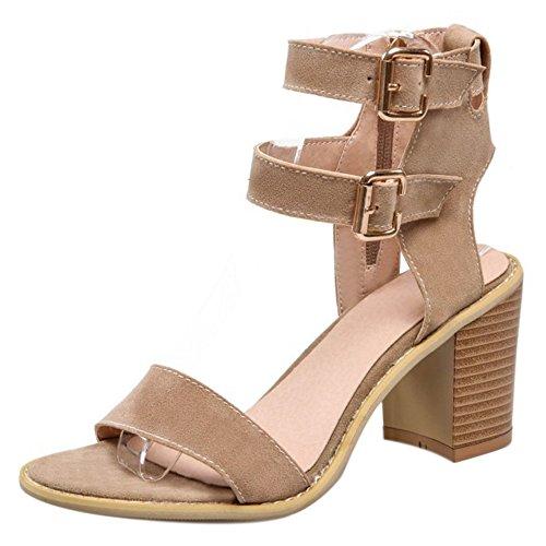 Heel Strap Khaki Toe Ankle Women Shoes Slingback Sandals Fashion COOLCEPT Block Open 7Pw6z6