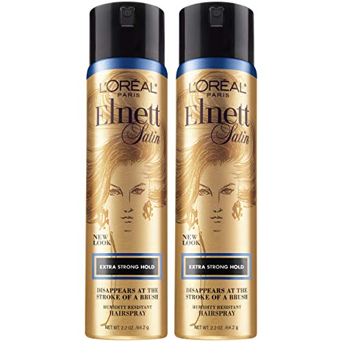 L'Oreal Paris Hair Care Elnett Extra Strong Hold Travel Size Hairspray, Long Lasting Plus Humidity Resistant, Hair Spray, 2.2 oz, (Pack of 2) ()
