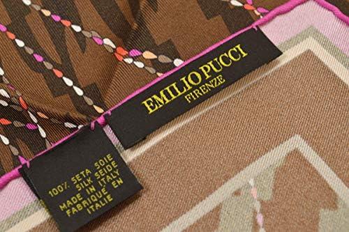 (エミリオプッチ)ポケットチーフ メンズ プッチ柄シルクポケットチーフ(サイズ32×32cm)eep19w132 ブラウン