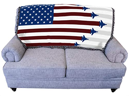 Air Force Fighter Jets & American Flag Throw Blanket for Couch