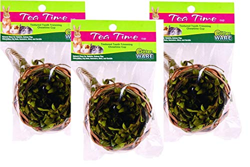 (Critter Ware 3 Pack Tea Time Cup Natural Chew for Small Animals)