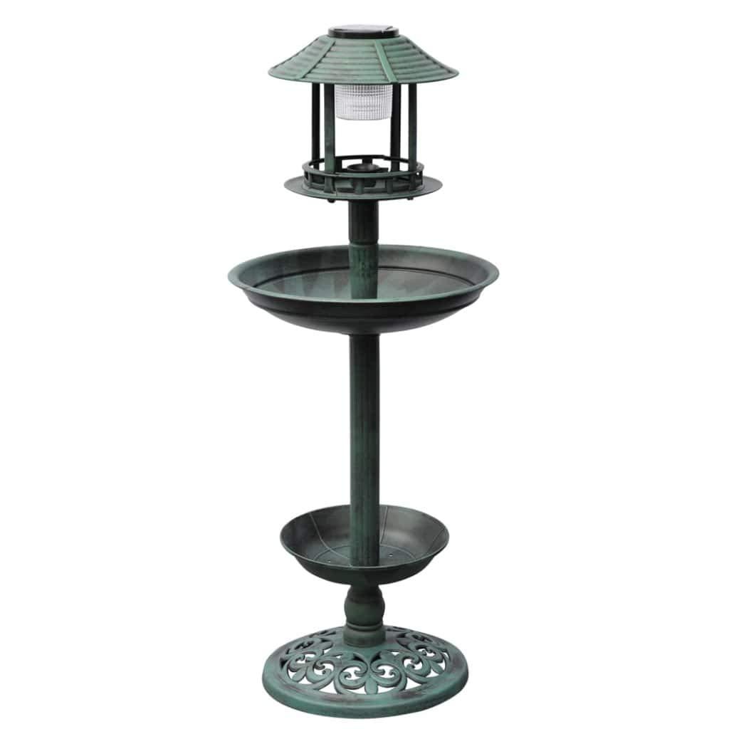 VidaXL Bird Bath Feeder with Solar Light Garden Patio Antique Stand Drinker