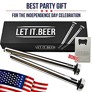 In Bottle Beer Chiller Sticks - Set of 2 Coolers to Keep Drinks Cold - Perfect Birthday Present or Independence Day Gift for Men / Party - Includes Stylish Bottle Opener!