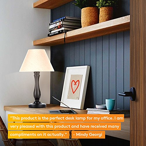 Brightech Noah LED Side Bedside Table & Desk Lamp: Traditional Elegant Black Wood Base, Neutral Shade & Soft, Ambient Light for Bedroom Nightstand, Living Room, Office; Incl. LED Bulb, Cord by Brightech (Image #4)