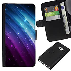 iBinBang / Flip Funda de Cuero Case Cover - Glitter Purple Blue Rainbow Negro Sparkle - Samsung Galaxy S6 EDGE SM-G925