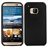 Cell Accessories For Less (TM) For HTC One M9 - SLIM HYBRID Cover w/ UV Coating - Black/Black SMHYB + Bundle (Stylus & Micro Cleaning Cloth) - By TheTargetBuys
