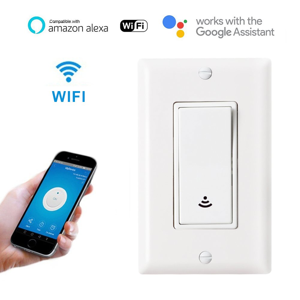 WIFI Smart Touch Switch Works with Amazon Alexa and Google Home, Wireless LED Wall Touch Switch with Fan, CFL,Timer Function and Phone Remote Control Wall Light Any Where