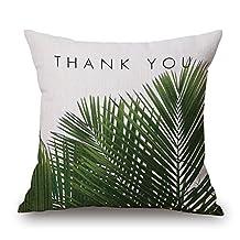 RFVBNM Fashion Africa Tropical Plant Cushion Covers Cactus Pillowcase Seat Decor Car/Chair/Office Sofa Pillow Covers 45x45cm,Thank you green plant