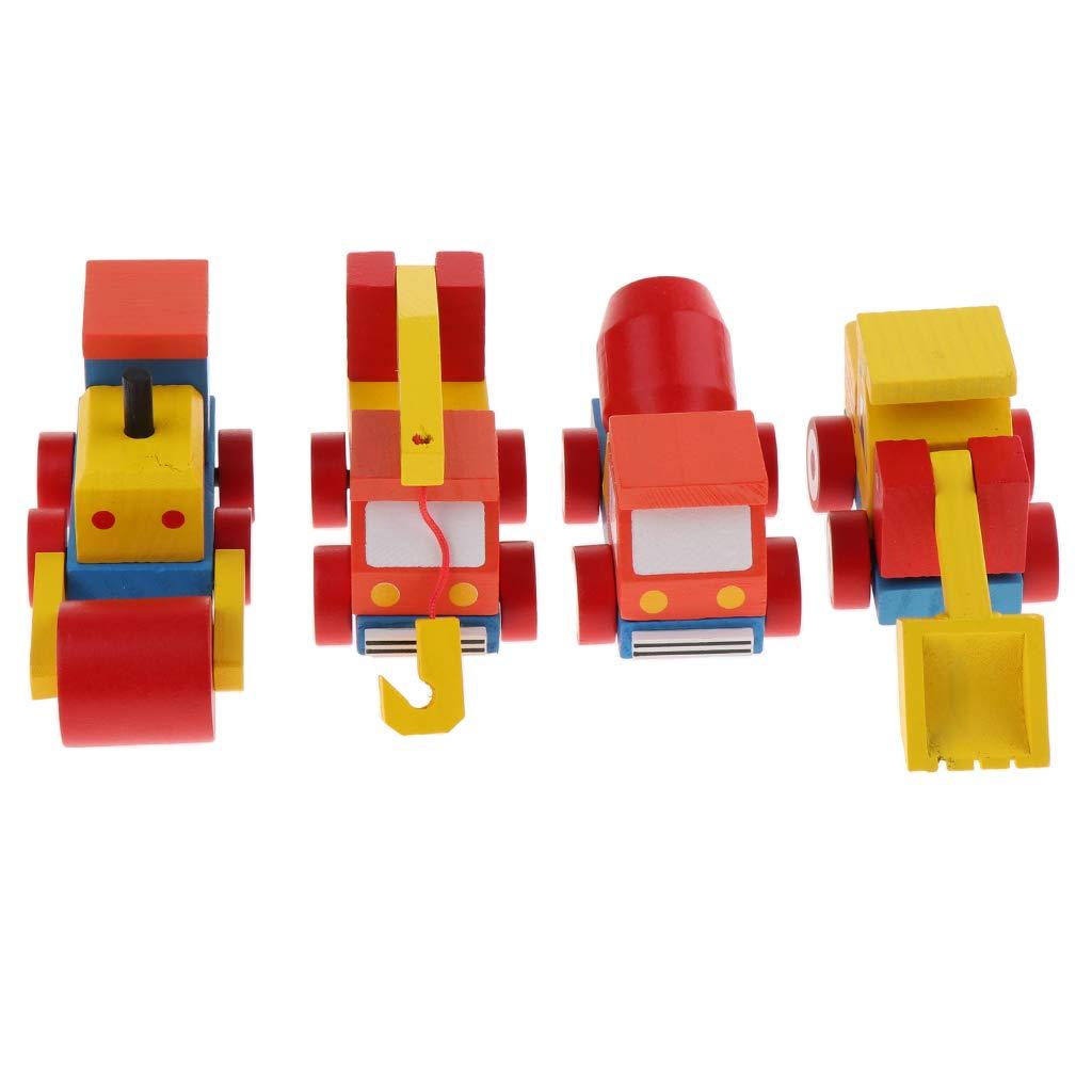 KESOTO 4 Tipi Auto Legno Giocattolo Divertente Gioco Educativo per Apprendimento per Bambini