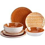 Better Homes and Gardens 12-Piece Reactive Melamine Dinnerware Set, Tan, Beige
