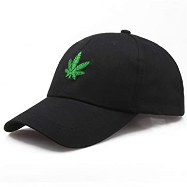 d89734c7162ba Embroidery Maple Leaf White Cap Weed Snapback Hats Men Women Cotton Swag Hip  Hop Fitted Baseball Caps A at Amazon Men s Clothing store