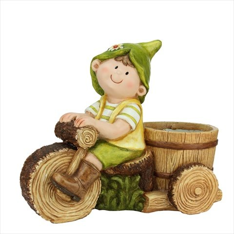 NorthLight 17 in. Young Boy Gnome Riding A Tree Bike Outd...