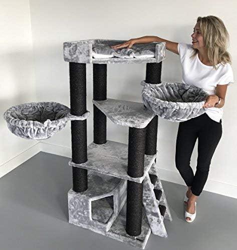 Rascador para gatos grandes Corner Coon Blackline Gris claro arbol xxl maine coon gato gigante sisal muebles sofa casa escalador casita torre Árboles rascadores cama cueva repuesto medianos: Amazon.es: Productos para mascotas