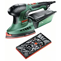 Bosch PSM 200 AES - Multi lijadora, sistema de microfiltro, 2 placas lijadoras, 200 W, 240 V, color verde y negro