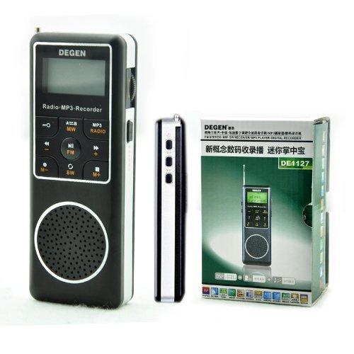 Degen DE1127 AM/FM/SW Pocket Radio with 4GB MP3 Player, Voice Recorder & E-book ()