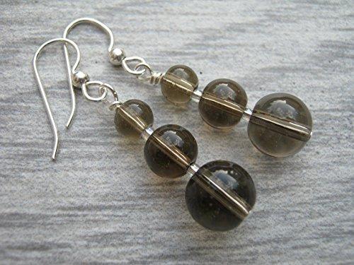 Smoky Quartz Earrings, Gemstone Dangle Earrings, Grey Brown Crystal, Nature Jewelry, 925 Sterling Silver Jewelry (Crystal Smoky Quartz Earrings)