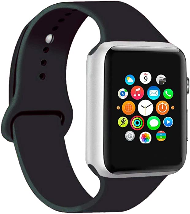 CoJerk Compatible for Apple Watch Band 38mm 40mm 42mm 44mm,Replacement Band for iWatch Series 4/3/2/1 (Black, 42mm/44mm-ml)