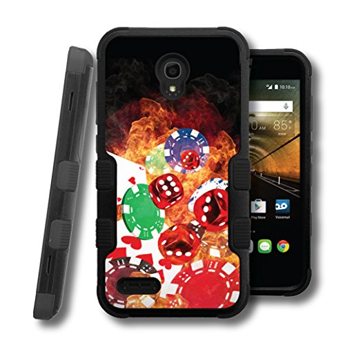 OneTouch Conquest Case, CASECREATOR[TM] For Alcatel OneTouch Conquest / 7046T (Boost Mobile) -- NATURAL TUFF Hybrid Rubber Hard Snap-on Case Black Black-Cards Dice Chips
