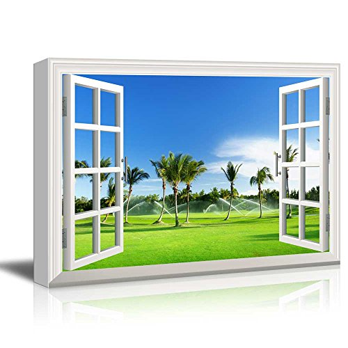 Print Window Frame Style Wall Decor Tropical Landscape with Palm Trees Gallery Stretched
