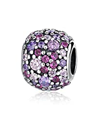 Soulove Pave Lights with Multi-Colored CZ Charm 925 Sterling Silver Bead for Snake Chain Charm Bracelet