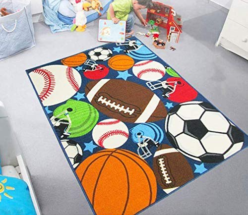HUAHOO Blue Kids Rug Fun Sport Rugs Nylon Carpet Boys Girls Childrens Rug Balls Print with Soccer Ball, Basketball, Football, Tennis Ball Bedroom Playroom 51'' x 75''