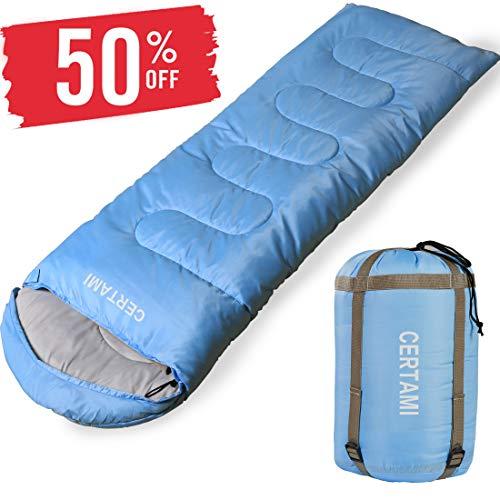 CERTAMI Sleeping Bag -Envelope Lightweight Portable Waterproof,for Adult 3 Season Outdoor Camping Hiking. (Sky Blue/Left Zip)