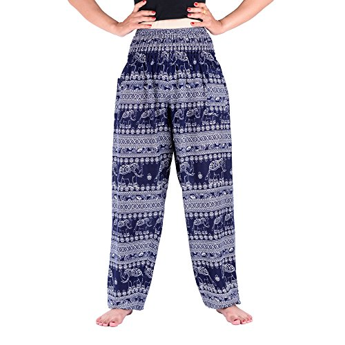 Thai Pants Womens Boho Elephant Design Cotton Soft Yoga Sports Dance Harem Pants (blue)