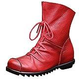 Women Leather Boot Women Winter Middle Tube Round Toe Increase Bottom Flat Shoe