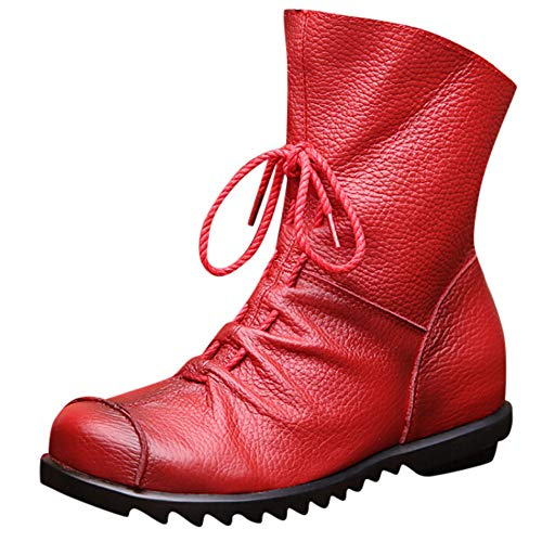 HYIRI Retro Leather Ankle Boots,Women's Warm Leather Boots Low Heel Boots Snow Boots -
