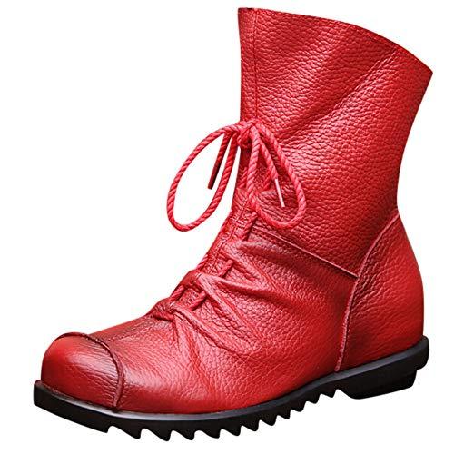 LandFox Women's Retro Leather Ankle Boots Warm Leather Boots Low Heel Boots Boots,US:6.5 Red -