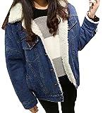 Cromoncent Women Winter Warm Washed Sherpa Lined Parka Coat Jean Coat Denim Jacket M