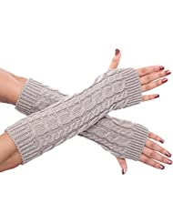 Women's Autumn and Winter Long Fingerless Wrist Warmers Gloves (2 Styles to Choose) (Style2-Light grey)