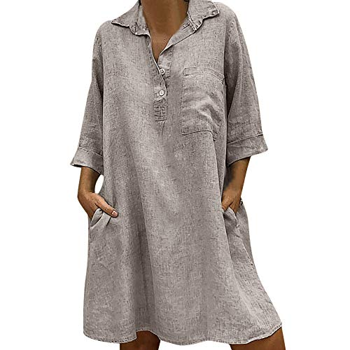 Mlide Women Embroidered Half/Long Sleeve Button Cover Up Mini Dress Boho Turn-down Collar Pocket Dress,Khaki 4XL ()