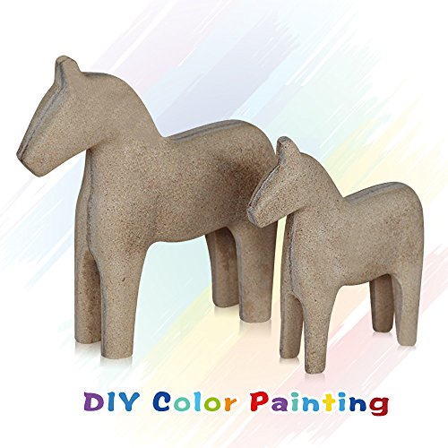 FishMM Set of 2 Europe's Swedish Unfinished Wooden Dala Horse Figurine, Dalecarlian Horse Ornaments, DIY Color Painting Classical Handicraft ()