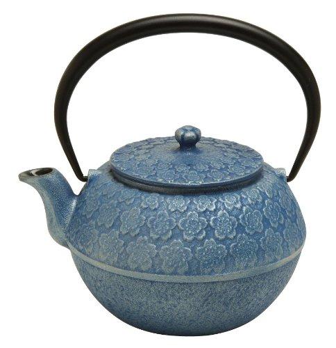 Joyce Chen Teapot (Joyce Chen 90-0109, Cherry Blossom Tetsubin 35-Ounce, Silver Blue)