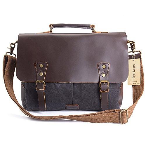 WalkingToSky 15,6 pulgadas cuero Vintage Messenger Bag para hombres y mujeres, lona de nuevo a la escuela Satchel Laptops Bag Gray,Oil Leather,Waterproof